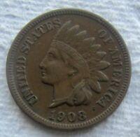 1908-S Indian Head Cent Rare Key Date AU Details Reverse Lamination
