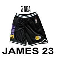 """Men's Lebron """"James 23"""" Los Angeles Lakers Shorts Black White VSM4100H Large"""