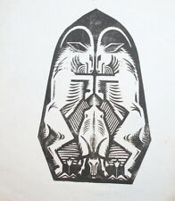 1969 Abstract print, mountain goats, signed