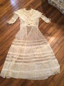 old antique net lace dress victorian lady  girls wedding brides maid