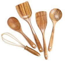 5 Piece Wooden Cooking Utensil Set, Wooden Kitchen Tools Teak Wood Spoon Spatula