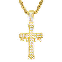 metaltree98 Hip Hop Iced Out Gold Tone Dripping Jesus Pendant 24 inch Tennis Chain Necklace THC 1305 G