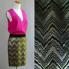 Trina Turk Dress RARE 1 of a Kind Sample Fuchsia Silk Metallic Chevron Skirt M