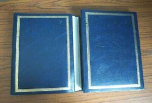 """2x Vintage/Antique BLUE Leather Style Photo Album 6"""" x 4"""" photos fits 194 each"""