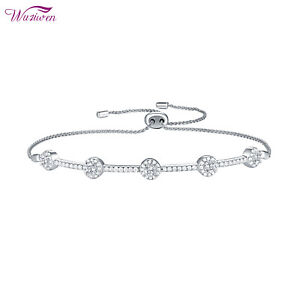 Adjustable Chain Bracelet For Women 1.2ct 925 Sterling Silver Round White AAA Cz