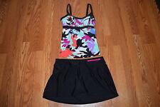 NWT Womens ZEROXPOSUR Mulberry Black Two Piece Tankini Swim Skirt Swim Suit 8