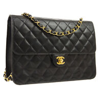 CHANEL Quilted Classic Flap Single Chain Shoulder Bag Black Leather AK45465