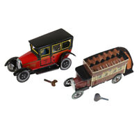 2x Iron Clockwork Taxi+Double-decker Omnibus Model Wind Up for Party Fun Toy