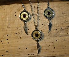 Handmade 45 Bullet Necklace & Earring Set w/ Sm Wing Charm (NICKEL/SILVER) S654