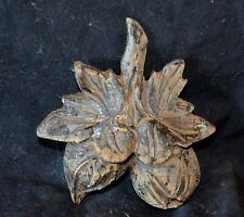 """Antique Wooden Fruit Leaf Furniture Mount Vintage Leaf Old Applique 4 ½"""" tall"""