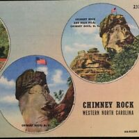 Chimney Rock North Carolina Greetings Multi View Curt Teich Vintage Linen Posted