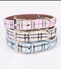 Dog Puppy Collar Scottish Tartan PLAID Dog Collar Leather RHINESTONE Bling