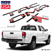 Thin Red Line 3D Domed Letters Inserts for Toyota Tacoma 2016-2020 Tailgate