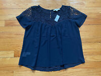 Ann Taylor LOFT Navy Blue Lace Lacy Sheer Short Sleeve Blouse Top sz XS NEW NWT
