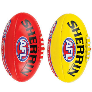 Sherrin AFL Leather Replica Training Ball - Yellow/Red Sizes 2-5 Football