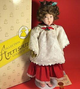 "CAROLER DOLL THE ARTISAN COLLECTION CAROLINE HAND PAINTED 15"" CHOIR PORCELAIN"