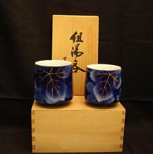MARKED Fukagawa Zi JAPANESE SHOWA IMARI HIS & HERS TEA CUP SET W/ WOODEN BOX