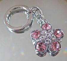 Pink Flower Rose Keychain Palladium Plated with Large Swarovski Rhinestones