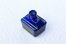 More details for vintage c1900s dark cobalt blue boat shape two pen rests shear lip ink bottle