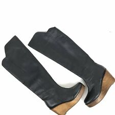 Kelsi Dagger Boots Women's Size 8 Black Leather Wooden Wedge Heel Over the Knee