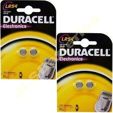 4 x LR54 Duracell Alkaline Batteries AG10 VG10A 1.5v 189 Ka54 LR1130