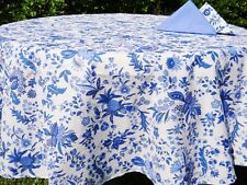 """LE CLUNY, VERSAILLES BLUE, FRENCH PROVENCE COATED COTTON TABLECLOTH, 60"""" X 60"""""""