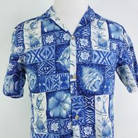 RJC SHORT SLEEVE BLUE WHITE FLORAL ALOHA BUTTON DOWN HAWAIIAN SHIRT MEN SZ M