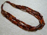 VINTAGE MULTI STRAND FAUX TORTOISE LUCITE BEADED BOHO STATEMENT NECKLACE 24""