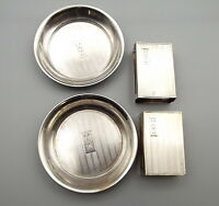 Vtg JE Caldwell Sterling Silver Matchbox Holder Ashtray Set Match Box Dish Lot