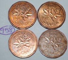 Canada 1985 x 4  1 Cent Copper Canadian Pennies Coins  Lot #E55
