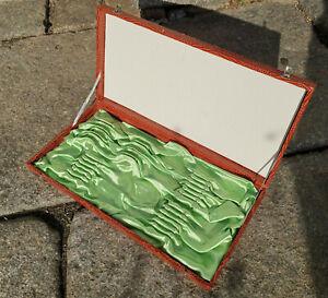 Besteckkasten braun, leer, für 24 Teile bzw. 6 Personen, lindgrün gefüttert