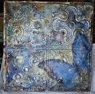 Antique Pressed Tin Ceiling Tile Ornate Butterfly Decoration Blue Iridescent