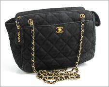 Authentic CHANEL - Black Nubuck Leather Long Shoulder Chain Medium Bag