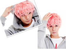 Fashion Korean Anime Style Men's Short Cosplay Wigs Pink Color Handsome Hair Wig