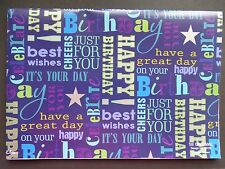 2 Sheets Simon Elvin Gift Wrap MALE HAPPY BIRTHDAY Wrapping Paper Tag