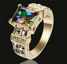 Rainbow topaz Crystal Wedding Ring 18K Yellow Gold Filled Jewelry Size 8