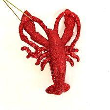Red Glitter Crawfish Ornament Christmas Louisiana Mardi Gras Crawfish Festival