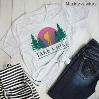 Women's Take a Hike Blouse Summer Top Funny Cotton Tee Casual Letters T-Shirt