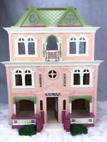 2008 Fisher Price Dollhouse Loving Family Grand Mansion Pink Green Folding House