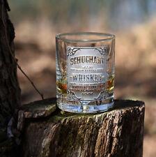 Personalized whiskey label, scotch, bourbon glasses SINGLE GLASS (wskylabel)