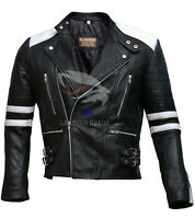 Brando Biker Black and White Motorcycle Genuine Real Leather Jacket XS S M L XL