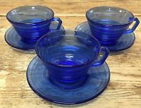 Hazel Atlas Cobalt Blue Moderntone 3 Cup Saucer Sets Glass 3067 Depression MCM