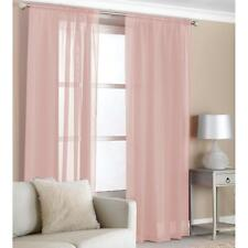 Voile Panels 2 Slot Top Curtains Plain Net Drape Home Accessory Pink Grey Black