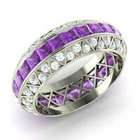 Certified Amethyst & SI/GH Diamond Wedding Band/Ring in 14k White Gold-3.42 Ct