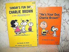 2 VTG PEANUTS CHARLIE BROWN CHILDRENS BOOKS~SUNDAYS FUN DAY & YOUR DOG~1965 & 69
