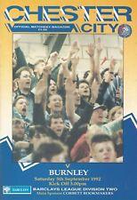 Chester City v Burnley, 5.9.1992, Division 2 (1st League match at the Deva)