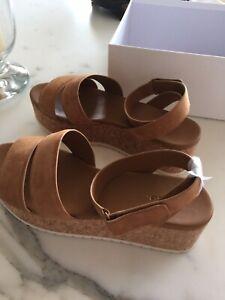 Vince Women's Jet Cork Platform Sandals Tan. Size39