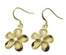 SILVER 925 YELLOW GOLD PLATED HAWAIIAN PLUMERIA FLOWER EARRINGS WIRE CZ 18MM