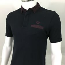 Fred Perry Mens Polo shirt small 38 casuals Navy blue maroon twin tipped