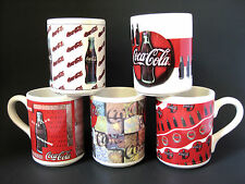 Coca Cola Mugs Collectible Lot of 5 Different Coke Cups Gibson 1997 Vintage
